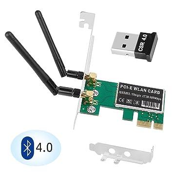 QNINE - Tarjeta PCIe WiFi de 300 Mbps con Bluetooth 4.0 ...