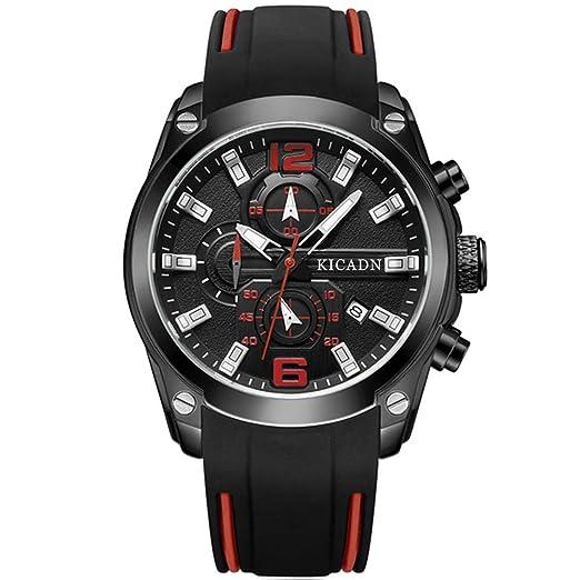 KICADN Relojes para Hombre Impermeable Cronógrafo Hombre Relojes Deporte Militar Cuarzo Luminoso Banda de Goma Fecha Calendario Reloj de Pulsera para Hombre ...