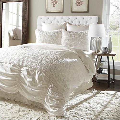 Lush Decor Rosemonde 5-Piece Comforter Set, King, Ivory