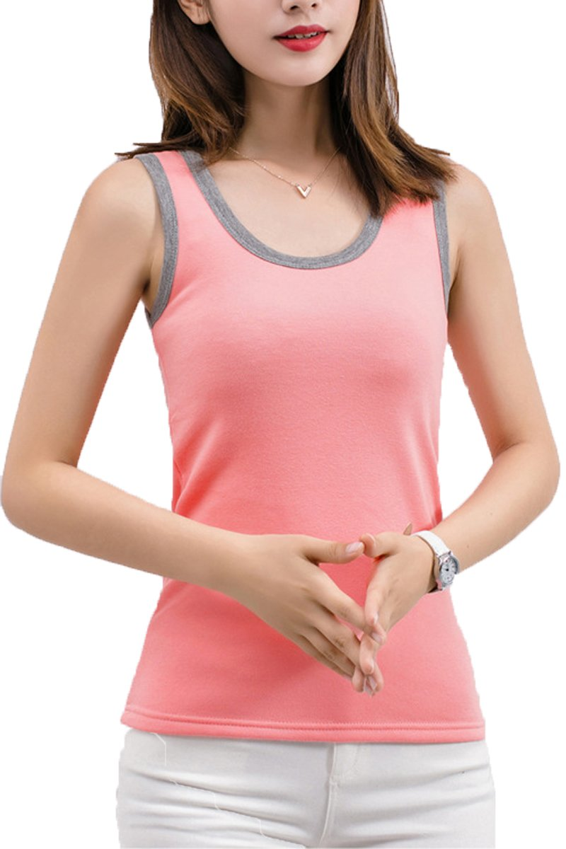 Rofala Women's Cotton Stretch Fleece Lined Thermal Tunic Top Slim Camisole Tanks ROTK0099