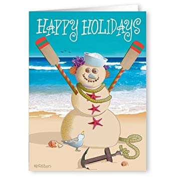 Nautical Christmas Theme.Amazon Com Beach Snowman Nautical Theme Christmas Card 18