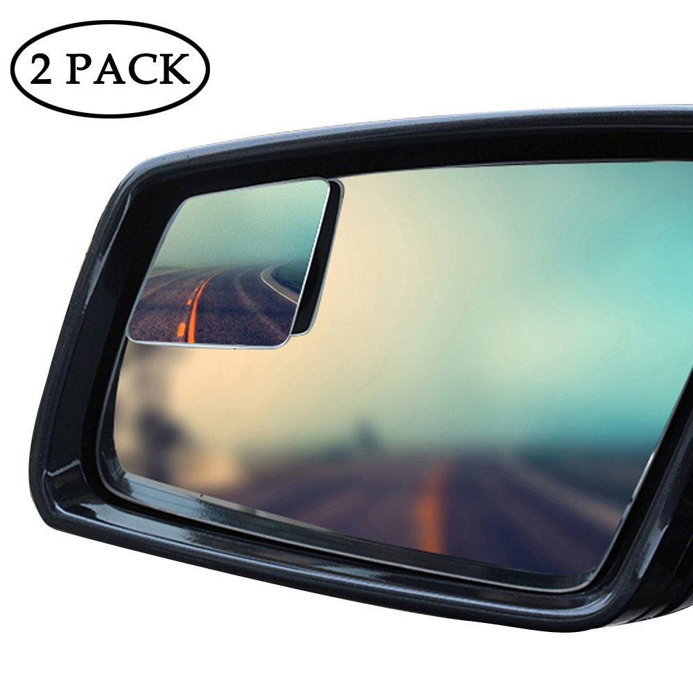 KOBWA Blind Spot Mirrors, Frameless 360° Rotatable Convex Rear View Mirror, Stick-On Side Mirror Blind Spot for Universal Vehicles Cars, Trucks (2 Pcs) Frameless 360°Rotatable Convex Rear View Mirror