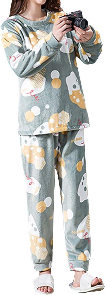 TOP-MAX Pijama para niñas, Talla 12, 14, 16, 18, Forro Polar cálido, para Adolescentes, niñas, Camisetas y Pantalones Largos, Pijamas para niñas ...