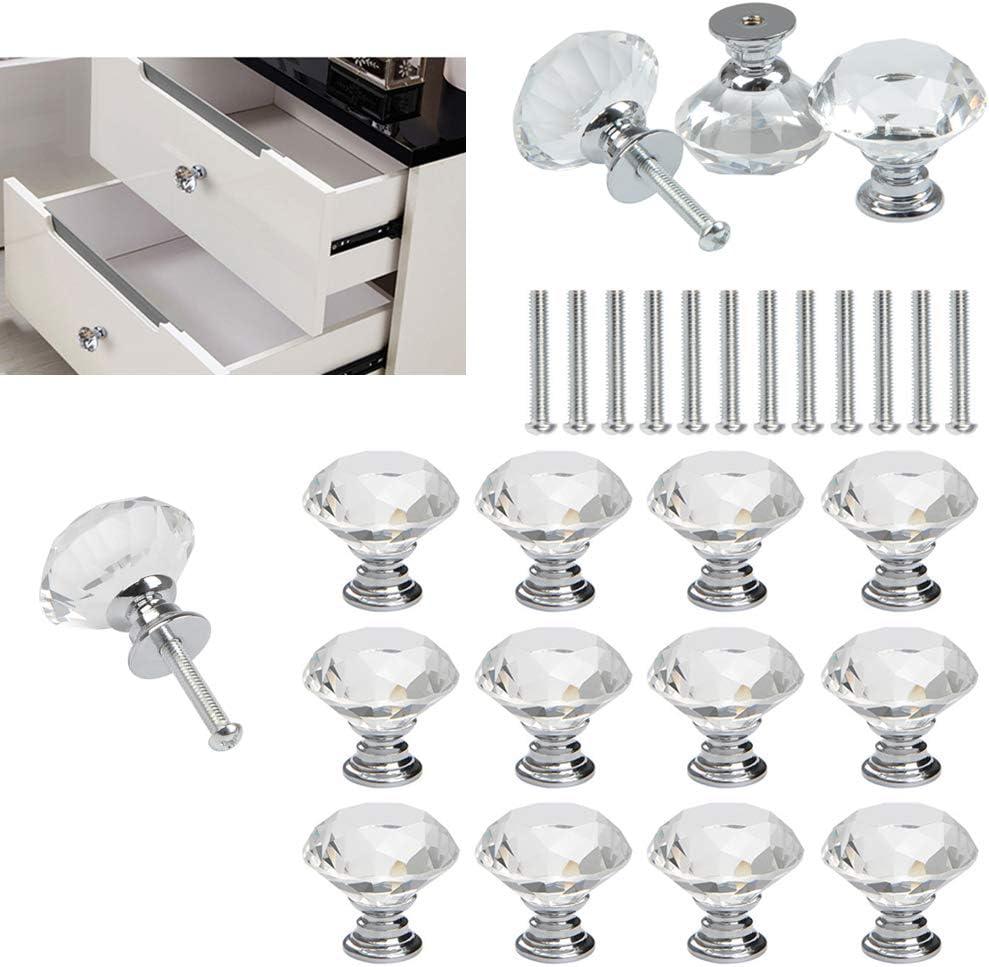 FOCCTS Pomos de Cristal Tiradores de Cristal 12 Piezas 30mm Aleación de Aluminio Diamante Pomos para Alacena Baño Cocina Gabinetes