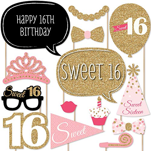 Big Dot of Happiness Sweet 16 Birthday - Photo Booth Props Kit - 20 Count ()