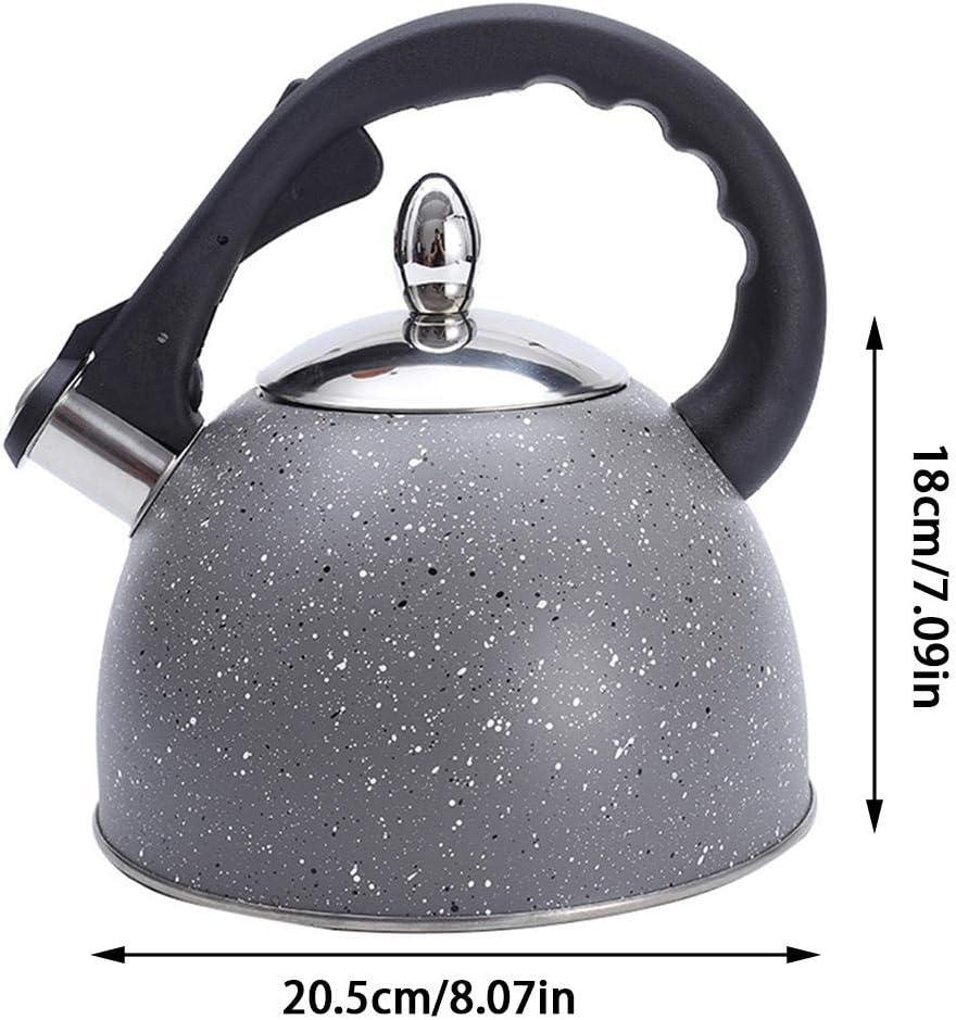 Motif De Fissure Noir SNIIA 3L Bouilloire Sifflante en Acier Inoxydable avec Compatible Induction Poign/ée Ergonomique Th/éi/ères /Électriques pour Cuisini/ère pour Toutes Les Cuisini/ères