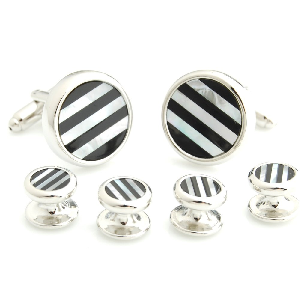The Smart Man Classic Black and White Stripe Stone Round Cufflinks and Tuxedo Studs Set for Mens Gift