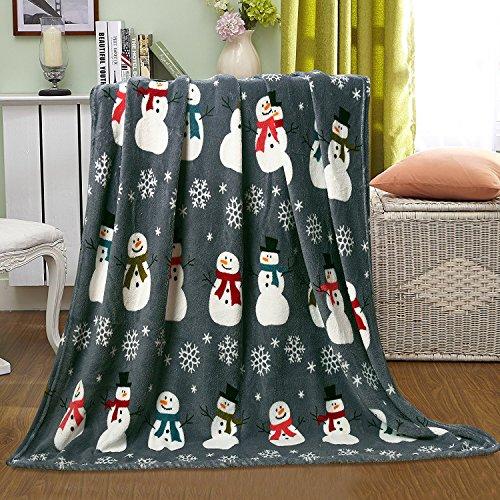 Ultra Plush Christmas & Halloween Themed Fleece Throw Blankets - Assorted Styles (Snowman & Snowflakes)
