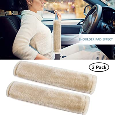 Moonet Auto Seat Belt Shoulder Pad, Soft Faux Sheepskin Wool Universal Seatbelt Cover for More Comfortable Driving,Multipurpose for Handbag Carmera Backpack Straps,2pc(Beige): Automotive