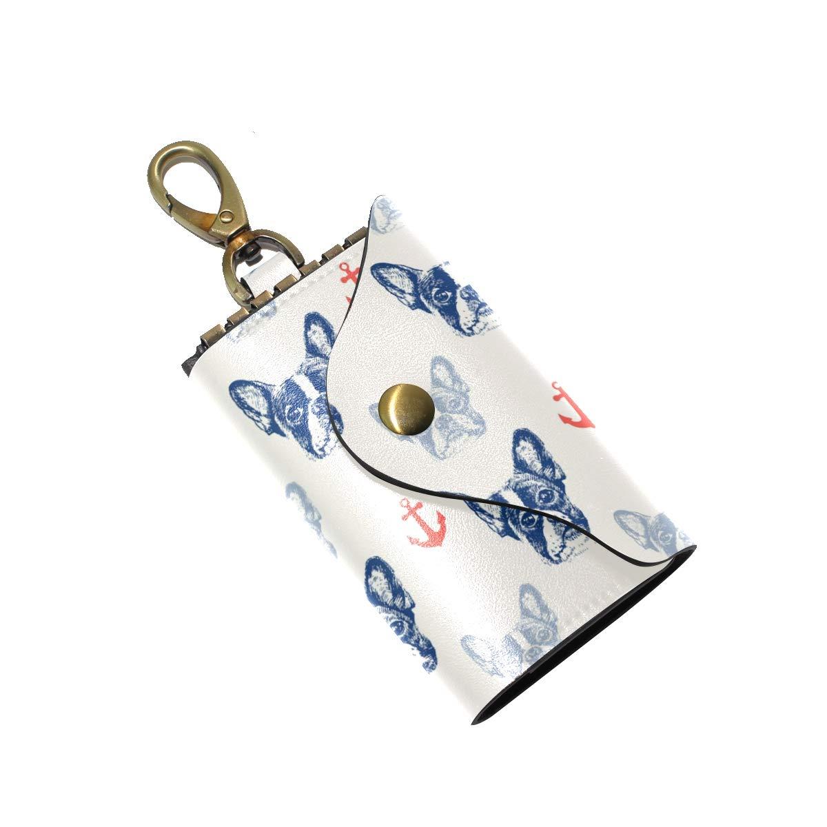 KEAKIA French Bulldog Pattern Leather Key Case Wallets Tri-fold Key Holder Keychains with 6 Hooks 2 Slot Snap Closure for Men Women