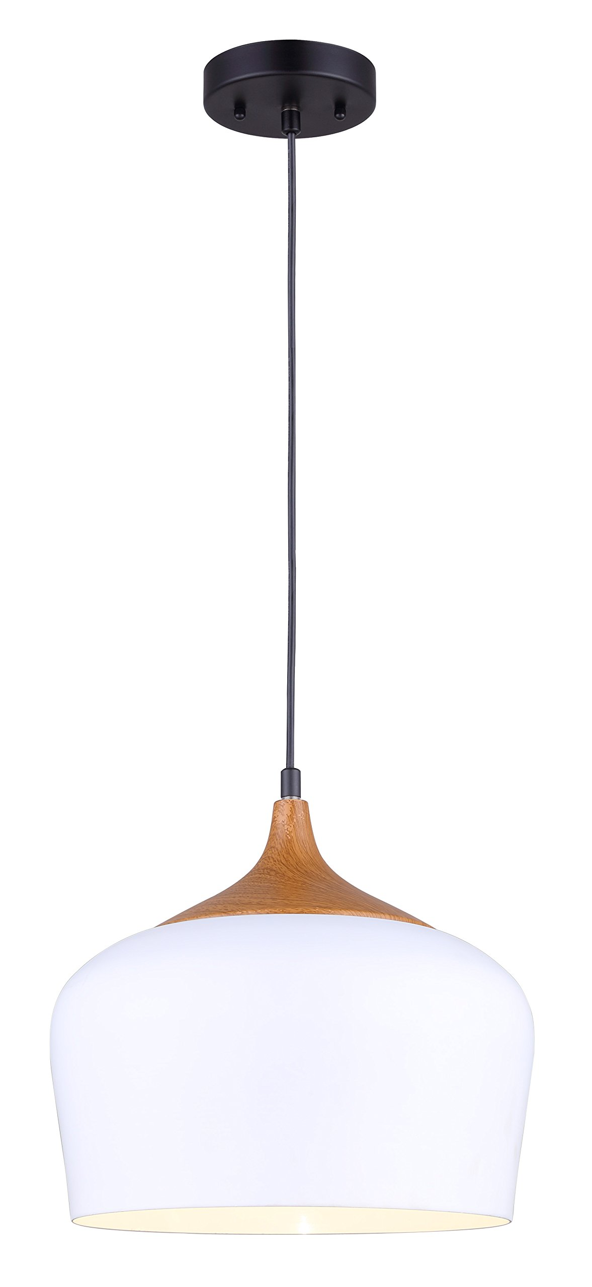 CANARM IPL614A01WH LTD Raphael 1 Light Cord Pendant White Aluminum Shade with Wood Accent