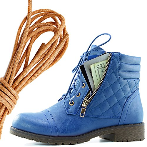 DailyShoes Womens Military Lace Up Buckle Combat Boots Ankle High Exclusive Credit Card Pocket, Tan Blue Pu