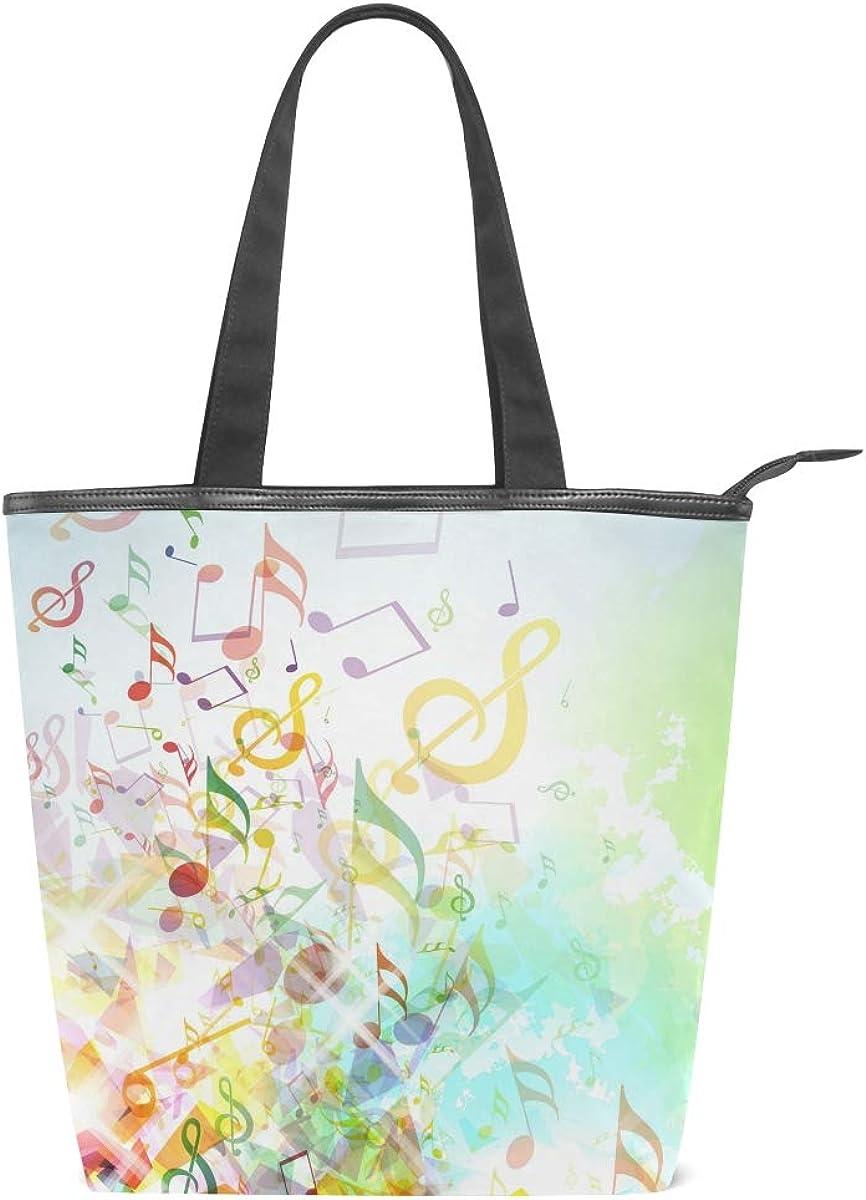 TFONE Colorful Music Note Women Handbag Fashion Shopping Travel Casual with Zipper Tote Shoulder Bag