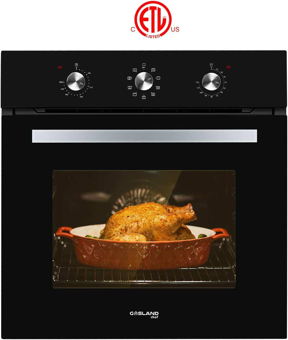 "Single Wall Oven, GASLAND Chef ES609MB 24"" Built-in Electric Wall Oven, 240V 3200W 2.3Cu.f Convection Wall Oven with Rotisserie, 9 Cooking Modes, Mechanical Knob Control, Transparent Window, Black"