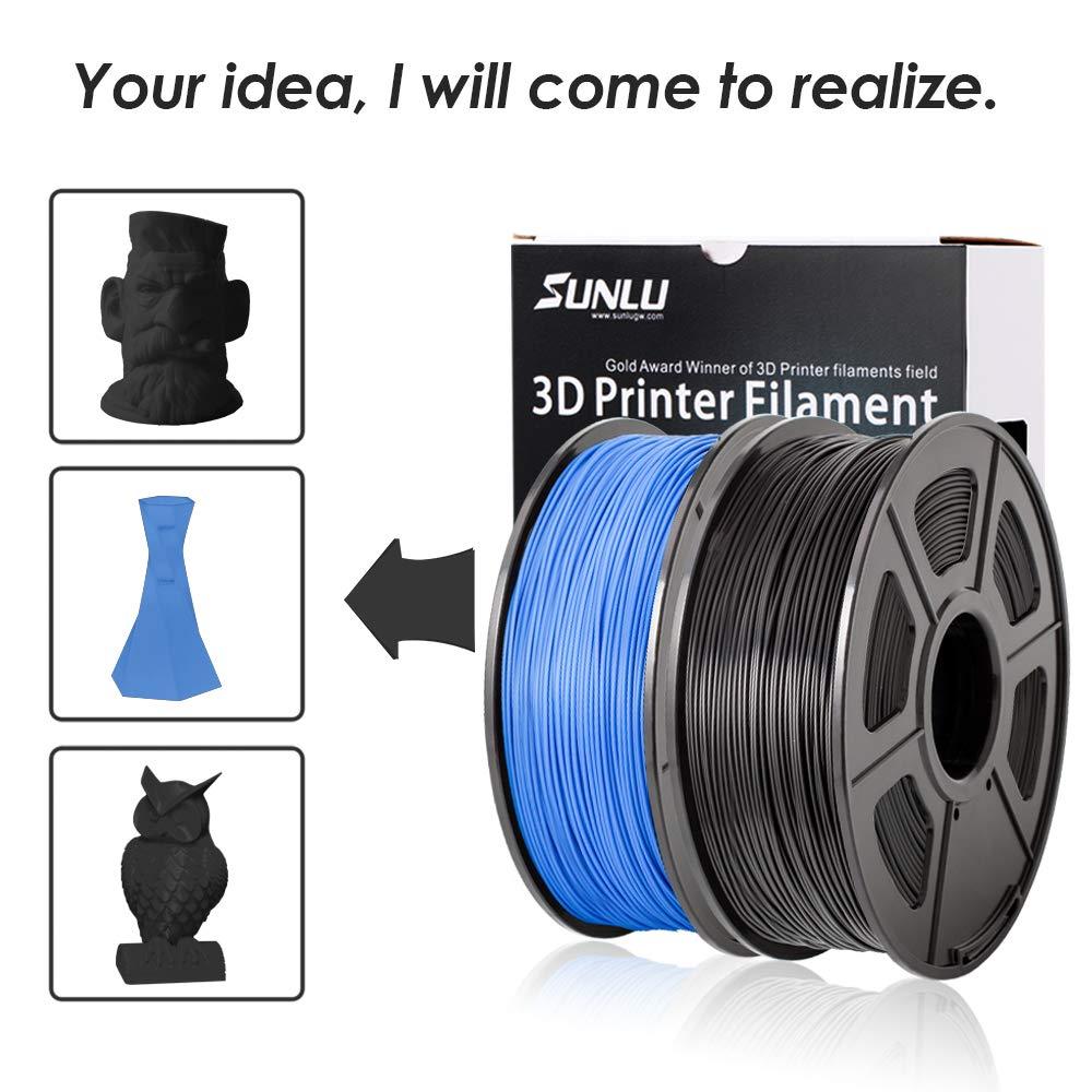 Spool 3D Filament,Black PLA+ 3D Printing Filament Low Odor 2.2 LBS 1KG SUNLU 3D Printer Filament PLA Plus 1.75mm PLA Filament Dimensional Accuracy +//- 0.02 mm