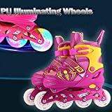 Gfone Kids Inline Skates Adjustable Roller Blades with LED 4 Wheels for Girls and Boys, Pink/Blue, Adjustable sizes 11 to 2, 1 to 4, 4 to 7
