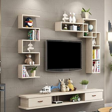 Estante flotante para montar en la pared para TV, armario, pared, estante de almacenamiento, consola de medios flotante, estante de TV con cajón para DVD, televisión por satélite, caja de cables: Amazon.es: