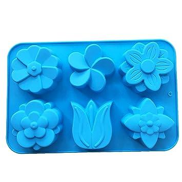 Molde de silicona para repostería de chocolate, gelatina, dulces, 6 agujeros, flor, 1 pieza 26 x 17 x 2,5 cm: Amazon.es: Hogar