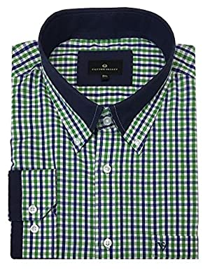 Cotton Valley Cotton Rich Navy Green Check Long Sleeved Shirt (15637) in Size 3XL