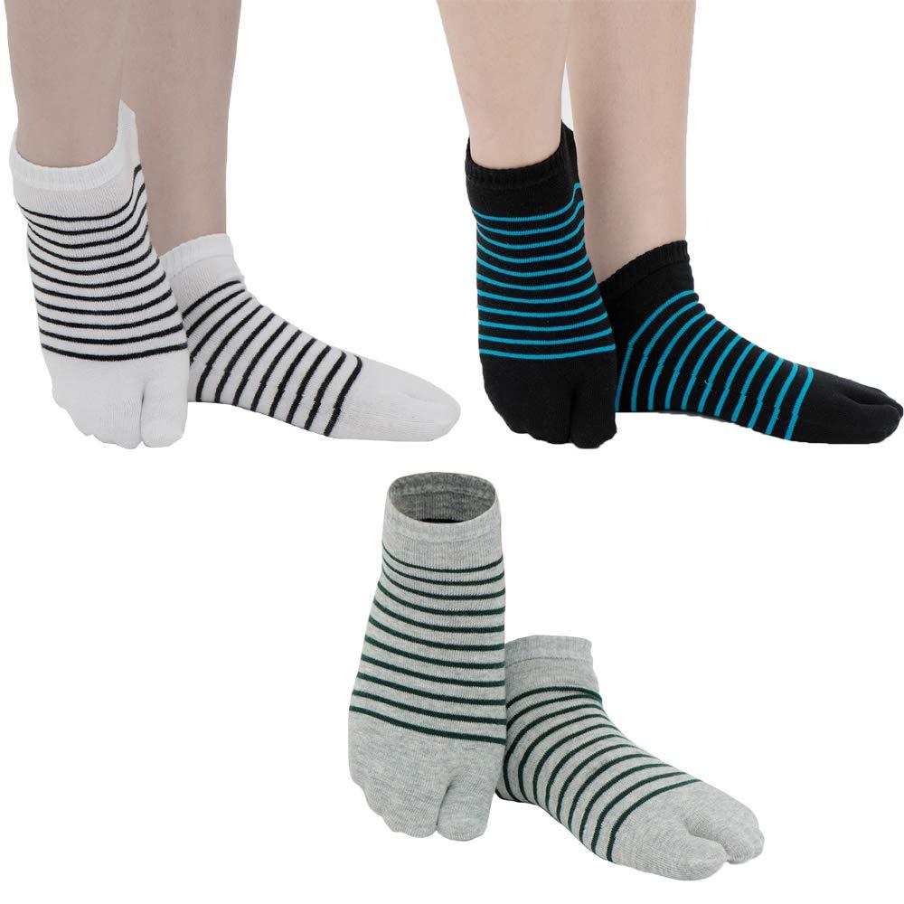 Tabi de algod/ón el/ástico de 3 pares calcetines del dedo del pie blanco + gris + negro Rayas