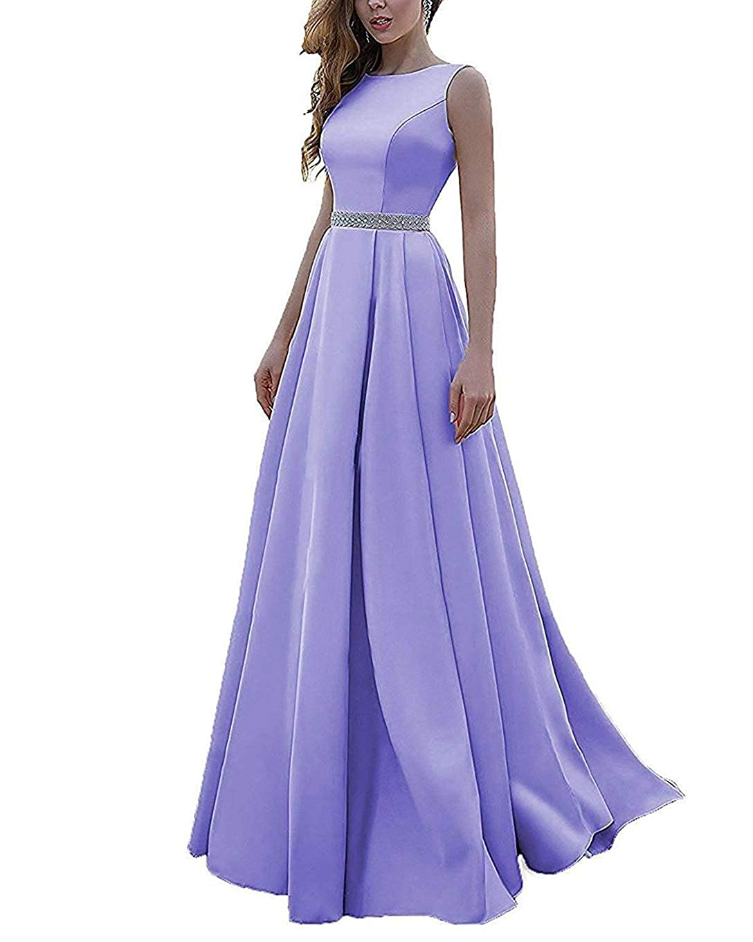 Lavender Beaded Satin Prom Dresses Long with Pockets Jewel Neckline Princess Ball Gown