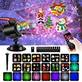 COMLIFE Christmas Decoration Projector Lights with 12 Slides 10 Colors for Holidays, 2 in 1 Decorative Water Wave Light Waterproof Outdoor Indoor Landscape Lights for Xmas Birthday Party Wedding