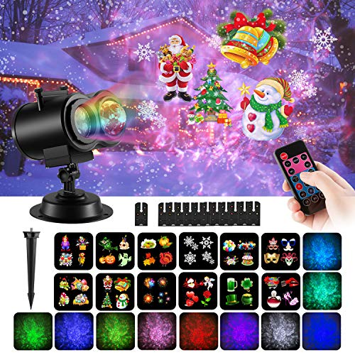 (COMLIFE Christmas Decoration Projector Lights with 12 Slides 10 Colors for Holidays, 2 in 1 Decorative Water Wave Light Waterproof Outdoor Indoor Landscape Lights for Xmas Birthday Party Wedding)