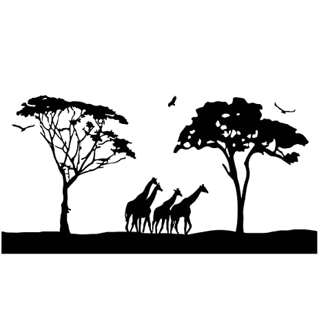 Charmant Safari Wall Art Decals Large Animal Wall Decor Giraffes Stickers Jumbo Size  Mural Big African Safari