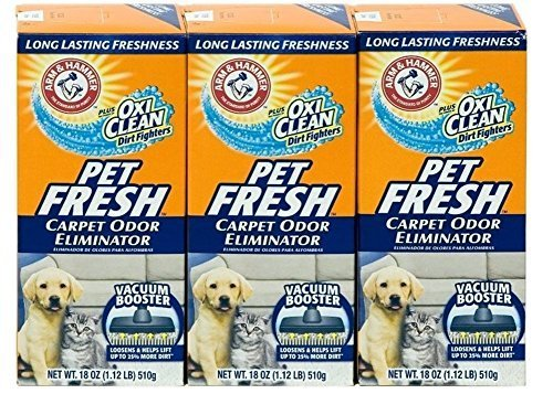 Arm & Hammer Pet Fresh Carpet Odor Eliminator Plus Oxi Clean Dirt Fighters (Pack of 3), 48.9 Ounce (Best Pet Friendly Carpet)