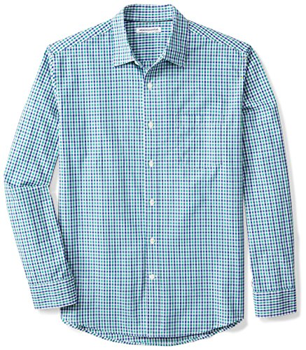 Amazon Essentials Men's Regular-Fit Long-Sleeve Casual Poplin Shirt, Blue/Green Gingham, ()
