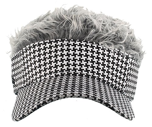 Flair Hair Visor (One Size fits most) (Houndstooth Gray, Adjustable) (Hats With Hair Attached)