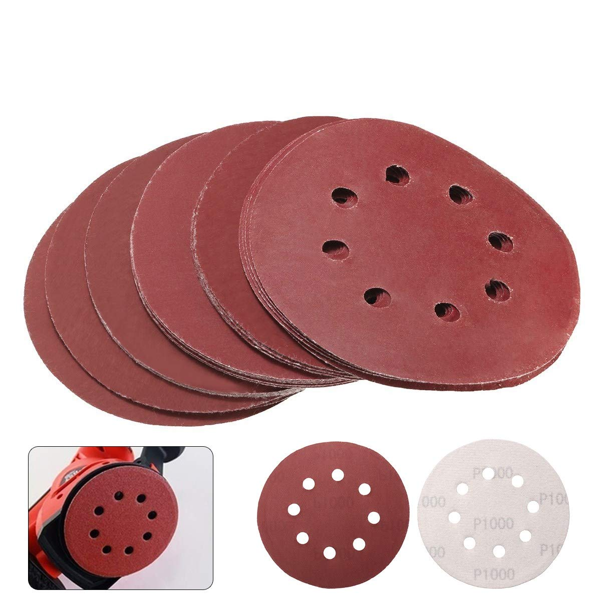 HAPYLY 5 Inch 8-Hole Hook and Loop Sanding Discs 25PCS 800 1000 1200 1500 2000 Grit Assorted Orbital Sander Round Sandpaper Tool