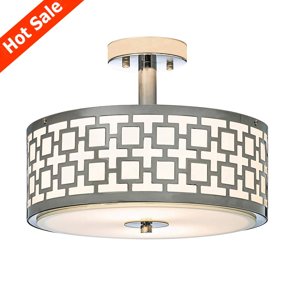 Popilion chrome finish flush mount ceiling lightceiling light fixture tempered glass acrylic