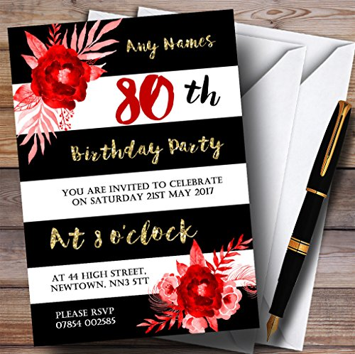 Black White Striped Gold Red Flower 80th Personalized Birthday Party Invitations