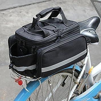 Garden Mile® Black Compact Expanding Double Pannier Bicycle Bag Rear Bike Storage Bag & Garden Mile® Black Compact Expanding Double Pannier Bicycle Bag ...