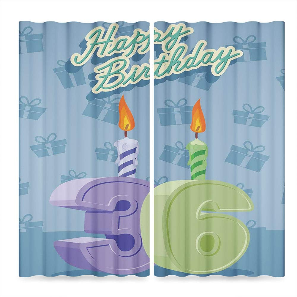 C COABALLA 36th Birthday Decorations Window Curtains Blackout,Birthday Party 36 Candles on Baby Blue Backdrop Image,for Bedroom Living Dining Room Kids Youth Room, 2 Panel Set, 28W X 39L Inches