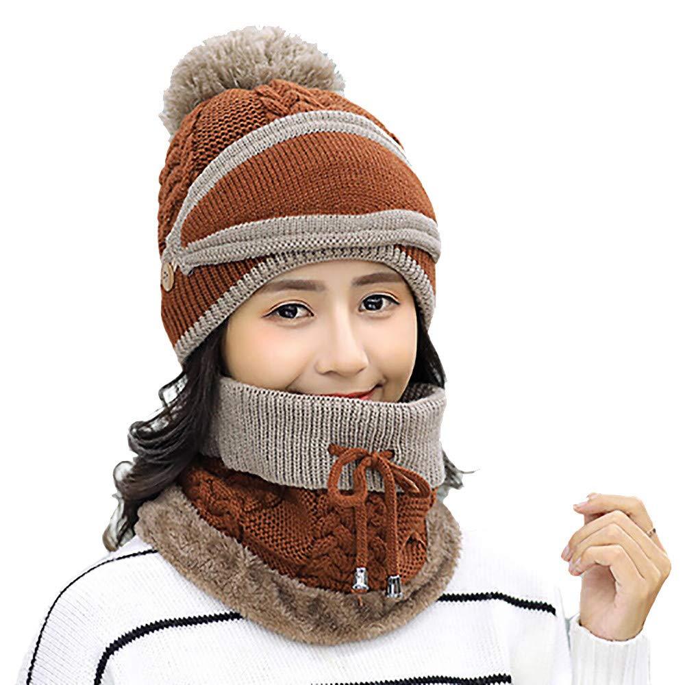 fe86b675e69 EnjoCho Clearance Sale! 2PCS Unisex Winter Beanie Hat Scarf Set Warm Knit  Hat Thick Knit