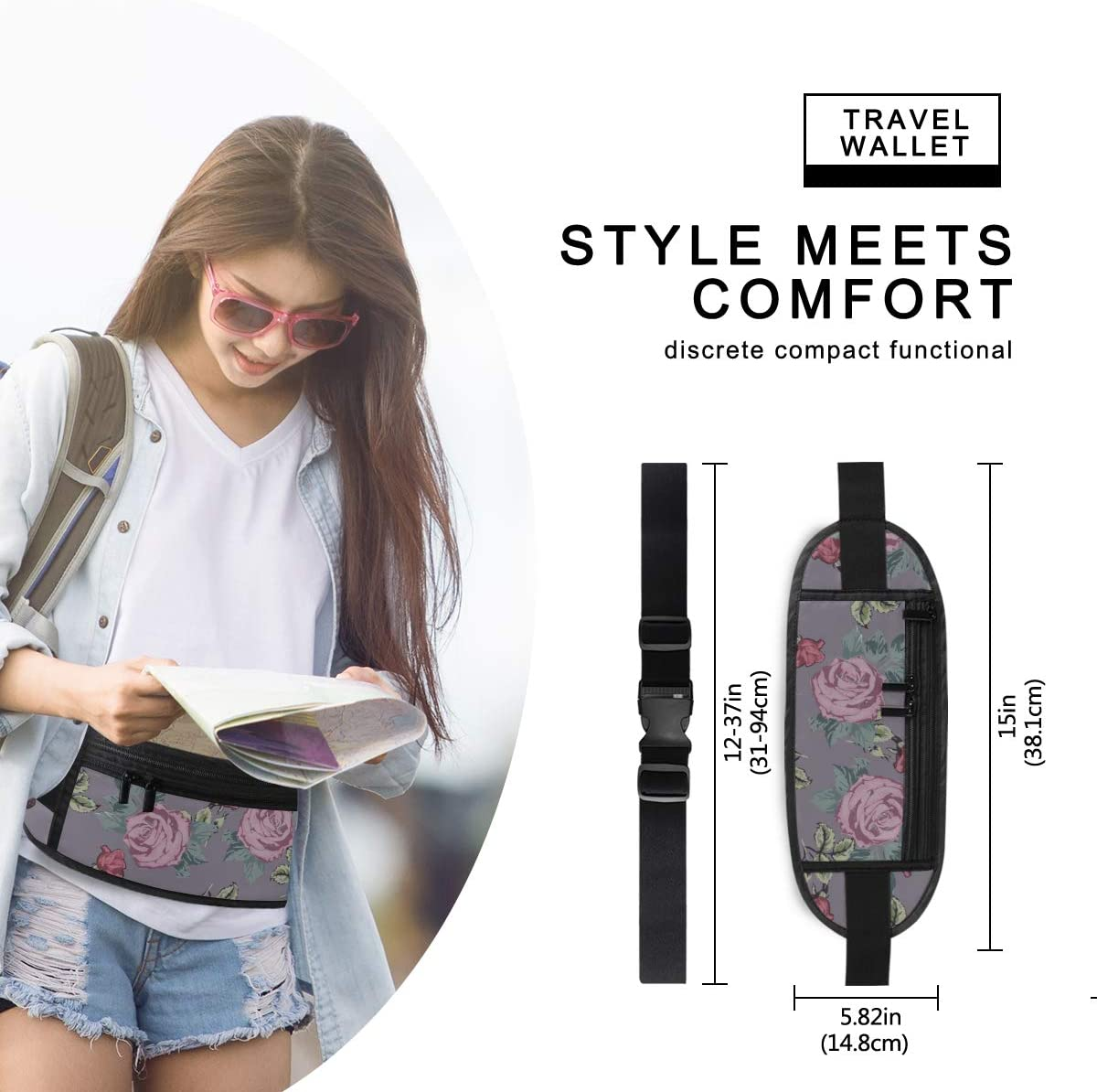 Pattern Pink Flowers Leaves Running Lumbar Pack For Travel Outdoor Sports Walking Travel Waist Pack,travel Pocket With Adjustable Belt