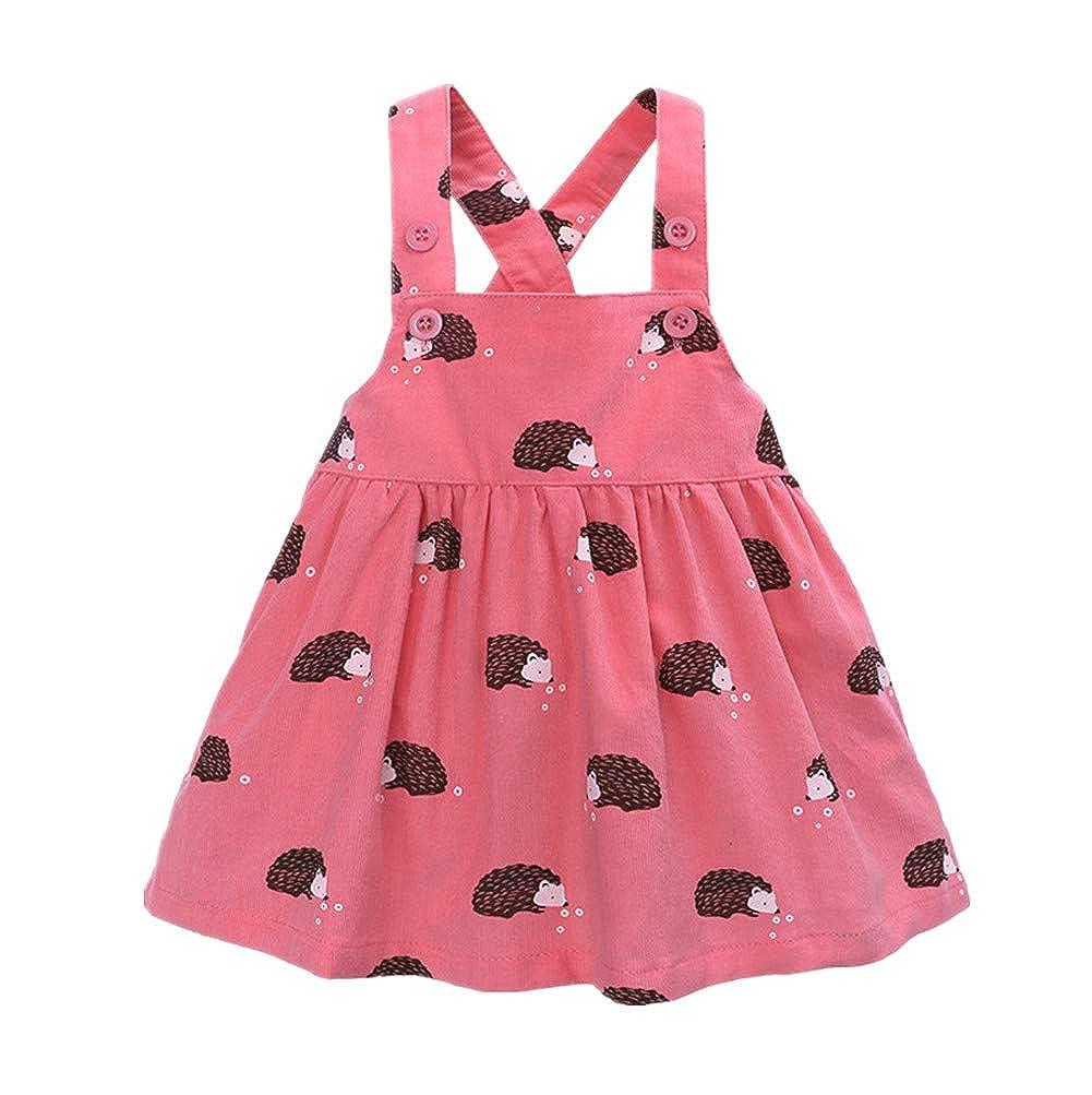 Beide Baby Girls Dresses Strap Suspender Skirt Overalls Hedgehog Print