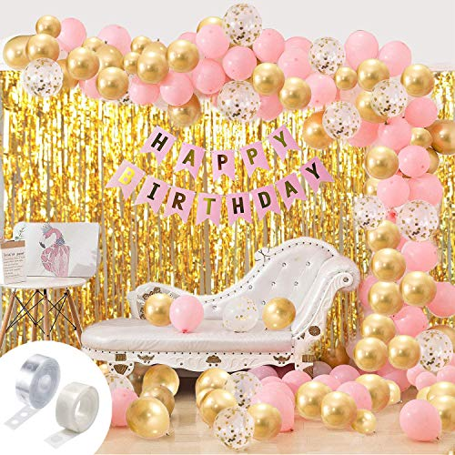 Party Propz Girls Happy Birthday Balloons Banner Curtains Decorations Kit- 93Pcs For Girl Baby Kids First Bday Decoration Items/Home Room Decor/Wife Women Celebration/Pink Princess Quarantine Theme