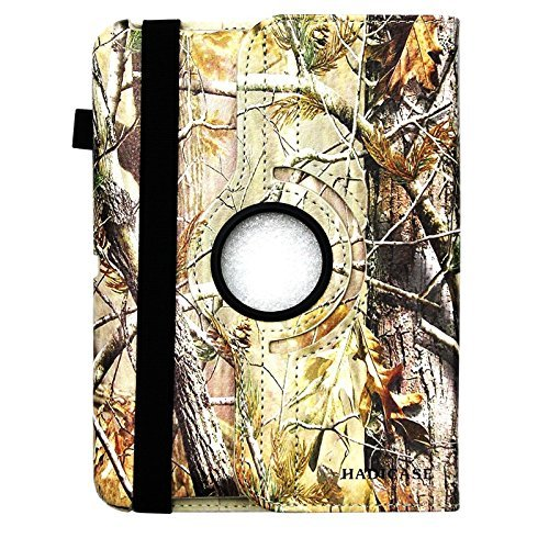 Kindle fire 7' (2012) / Kindle Fire HD 7' (2012) Autumn Green Brown Real Camo Camouflage Mossy Tree Pu Leather 360 Rotating Smart Case Cover with Closing Band & Stylus Holder By DealsEggs®