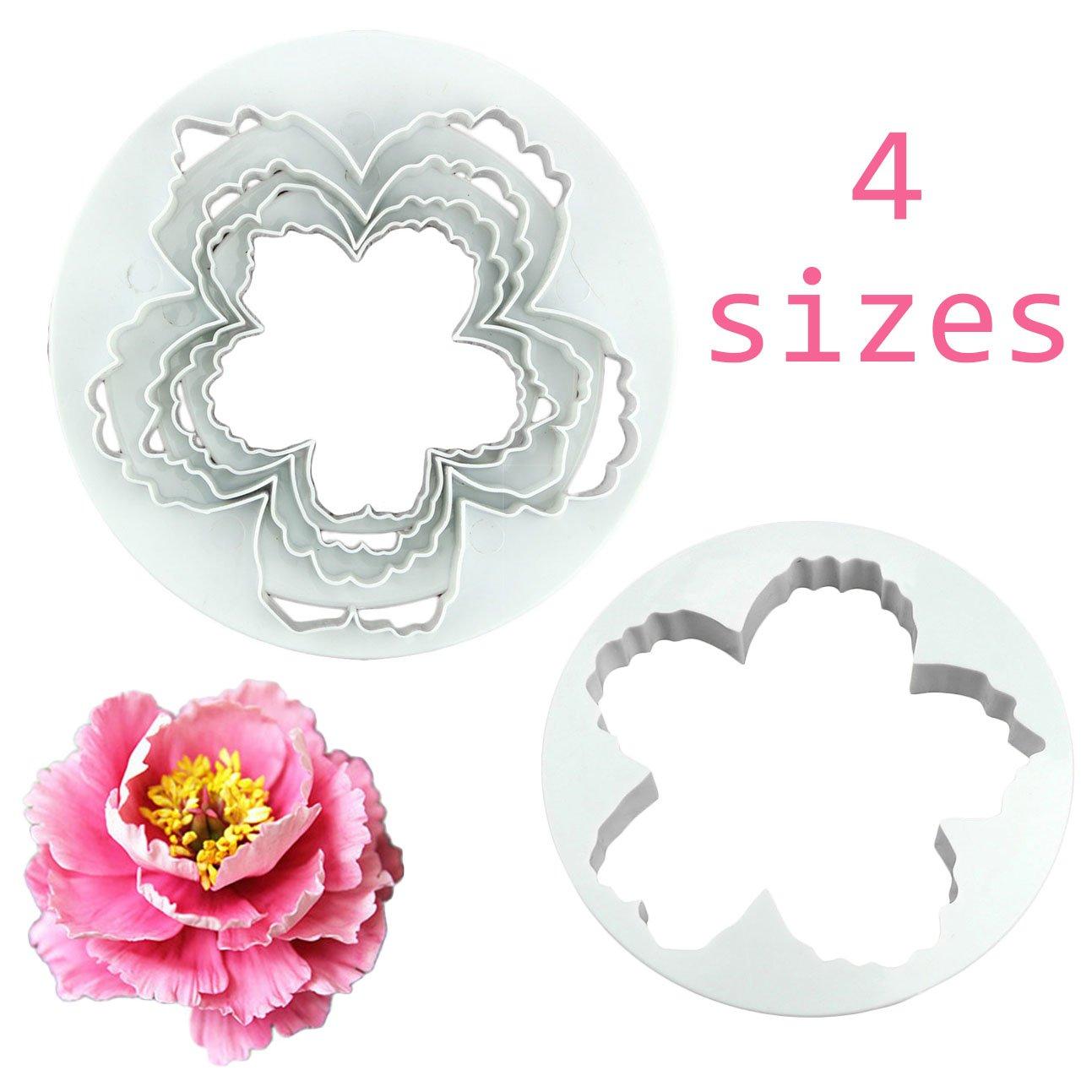 4 piezas de peonía flores de pétalos molde cortador varios tamaños Sugarcraft Decoración de Pasteles: Amazon.es: Hogar