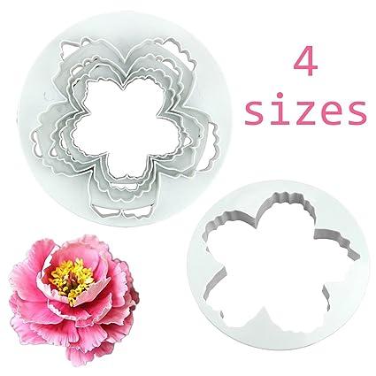 4 piezas de peonía flores de pétalos molde cortador varios tamaños Sugarcraft Decoración de Pasteles