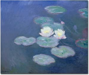 Wieco Art Water Lilies Canvas Prints Wall Art of Claude Monet Classical Flowers Oil Paintings Reproduction Gallery Wrapped Floral Pictures Giclee Artwork for Living Room Kitchen Home Office Decor