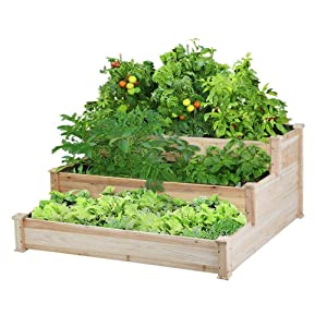 Yaheetech 3 Tier Wooden Raised Garden Bed Elevated Garden Bed Kit for Vegetables Outdoor Indoor Solid Wood 49 x 49 x 21.9in