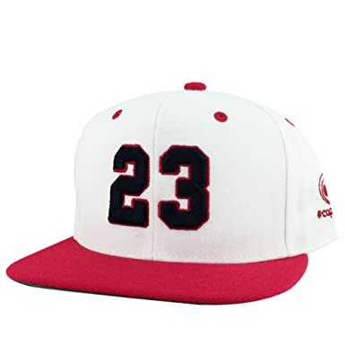 6b6dbf12a20 Amazon.com  Number  23 White Red Visor Hip Hop Snapback Hat Cap x ...
