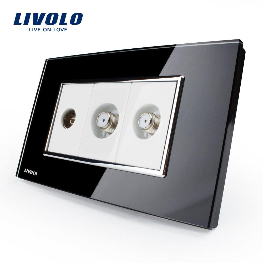 LIVOLO Black US/AU Standard TV & 2Gang Satellite TV Socket Luxury Tempered Glass Panel, C391V2ST-82