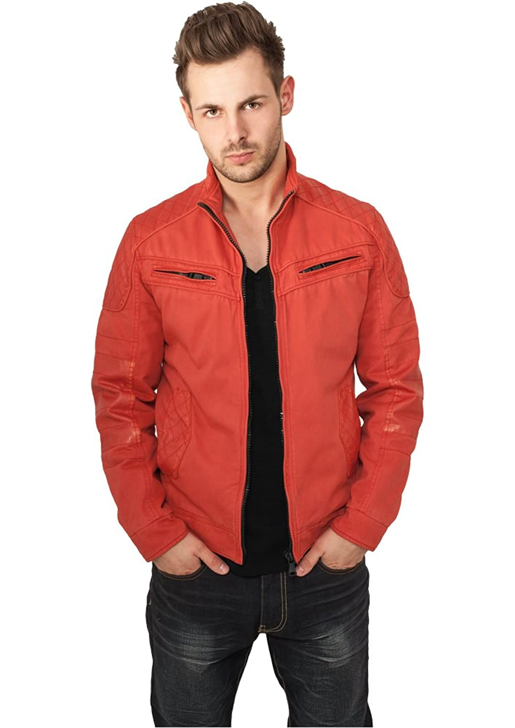 URBAN CLASSICS Cotton / Leathermix Racer (red) Jacket