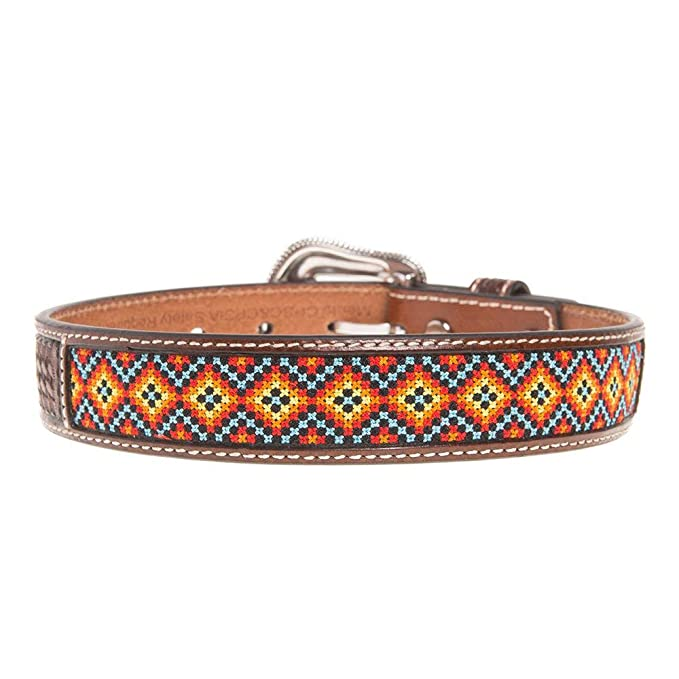 Nocona Boy's Basketweave Multi Color Embroidered Belt, Tan, 18