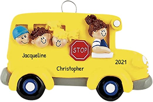 Bus Transit Christmas Day 2020 Amazon.com: Personalized School Bus Christmas Tree Ornament 2020